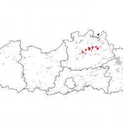 Kaart van de speciale beschermingszones voor: Geel schorpioenmos