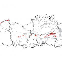 Kaart van de speciale beschermingszones voor: Kruipend moerasscherm
