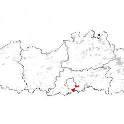 Kaart van de speciale beschermingszones voor: Bechsteinsvleermuis