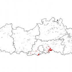 Kaart van de speciale beschermingszones voor Zeggenkorfslak