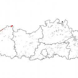 Kaart van de speciale beschermingszones voor: Nauwe korfslak