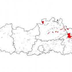 Kaart van de speciale beschermingszones voor: Gevlekte witsnuitlibel