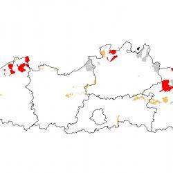 Vogelrichtlijngebieden voor Velduil. Rood: belangrijk broed-, trek- en/of overwinteringsgebied. Oranje: broed-, trek- en/of overwinteringsgebied met kleinere aantallen.