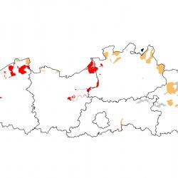 Vogelrichtlijngebieden voor Slobeend. Rood: belangrijk broed-, trek- en/of overwinteringsgebied. Oranje: broed-, trek- en/of overwinteringsgebied met kleinere aantallen.