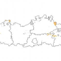 Vogelrichtlijngebieden voor Slechtvalk. Rood: belangrijk broed-, trek- en/of overwinteringsgebied. Oranje: broed-, trek- en/of overwinteringsgebied met kleinere aantallen.