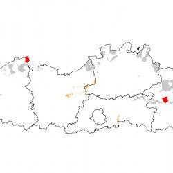 Vogelrichtlijngebieden voor Purperreiger. Rood: belangrijk broed-, trek- en/of overwinteringsgebied. Oranje: broed-, trek- en/of overwinteringsgebied met kleinere aantallen.