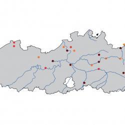 Verspreidingskaart Porseleinhoen. Kaart afkomstig van de atlas van de Vlaamse broedvogels van 2000 - 2002.