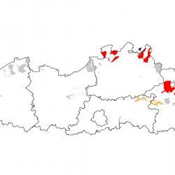 Vogelrichtlijngebieden voor Korhoen. Rood: belangrijk broed-, trek- en/of overwinteringsgebied. Oranje: broed-, trek- en/of overwinteringsgebied met kleinere aantallen.