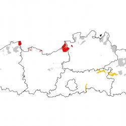 Vogelrichtlijngebieden voor Kluut. Rood: belangrijk broed-, trek- en/of overwinteringsgebied. Oranje: broed-, trek- en/of overwinteringsgebied met kleinere aantallen.