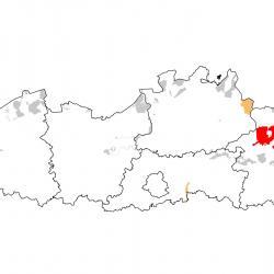 Vogelrichtlijngebieden voor Grauwe kiekendief. Rood: belangrijk broed-, trek- en/of overwinteringsgebied. Oranje: broed-, trek- en/of overwinteringsgebied met kleinere aantallen.