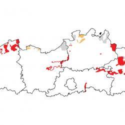 Vogelrichtlijngebieden voor Goudplevier. Rood: belangrijk broed-, trek- en/of overwinteringsgebied. Oranje: broed-, trek- en/of overwinteringsgebied met kleinere aantallen.