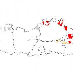 Vogelrichtlijngebieden voor Boomleeuwerik. Rood: belangrijk broed-, trek- en/of overwinteringsgebied. Oranje: broed-, trek- en/of overwinteringsgebied met kleinere aantallen.