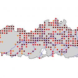 Verspreidingskaart Blauwborst. Kaart afkomstig van de atlas van de Vlaamse broedvogels van 2000 - 2002.
