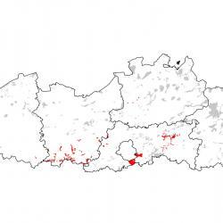 Kaart van de speciale beschermingszones voor: Ingekorven vleermuis