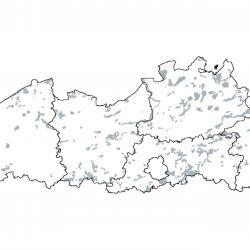 Kaart van de speciale beschermingszones voor: Gemengde bossen met Quercus robur, Ulmus laevis, Fraxinus excelsior of Fraxinus angustifolia, langs de grote rivieren (Ulmenion minoris)