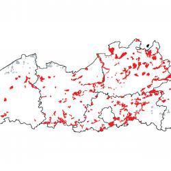 Kaart van de speciale beschermingszones voor: Droge Europese heide