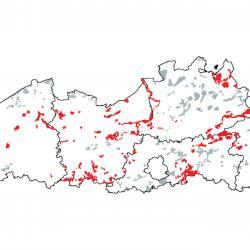 Kaart van de speciale beschermingszones voor: van nature eutrofe meren met vegetaties van het type Magnopotamion of Hydrocharition