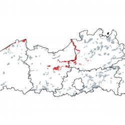 Kaart van de speciale beschermingszones voor:  Estuaria